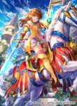 1girl animal bangs blue_eyes blue_sky breasts brown_hair cloud cloudy_sky commentary company_connection copyright_name day eyebrows_visible_through_hair fingerless_gloves fire_emblem fire_emblem:_akatsuki_no_megami fire_emblem:_souen_no_kiseki fire_emblem_cipher flower fuji_choko gloves holding holding_sword holding_weapon horse long_hair looking_at_viewer medium_breasts mist_(fire_emblem) official_art open_mouth outdoors pleated_skirt riding rose skirt sky staff sword thighhighs weapon zettai_ryouiki