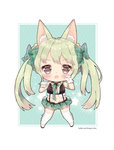 1girl animal_ears art556_(girls_frontline) bangs blush boots bow brown_hair chestnut_mouth chibi commentary_request eyebrows_visible_through_hair fang foreign_blue full_body girls_frontline gloves green_bow green_hair green_skirt hair_bow highres korean_commentary long_hair looking_at_viewer miniskirt navel open_mouth plaid plaid_skirt pleated_skirt sidelocks skirt solo standing thigh_boots thighhighs twintails very_long_hair watermark web_address white_footwear white_gloves white_legwear