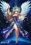 1girl angel anklet bare_shoulders barefoot blonde_hair blue_dress copyright_name dress feathered_wings fingerless_gloves gloves green_eyes halo jewelry long_hair looking_at_viewer night night_sky official_art parted_lips sky soccer_spirits solo star_(sky) star_trails tob very_long_hair white_wings wings wristband
