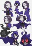 1girl cape dc_comics forehead_jewel grey_skin kirusu leotard purple_hair raven_(dc) short_hair solo teen_titans