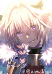1boy astolfo_(fate) backlighting bangs black_bow black_gloves black_ribbon bow braid commentary_request crossed_bangs dent eyebrows_visible_through_hair eyes_visible_through_hair fate/apocrypha fate_(series) fur_collar gauntlets gloves hair_between_eyes hair_bow hair_intakes hair_over_shoulder hair_ribbon hand_up head_tilt light_particles light_rays long_hair looking_at_viewer male_focus open_mouth otoko_no_ko pink_eyes pink_hair ribbon ryuuki_(hydrangea) sidelocks single_braid smile solo twitter_username upper_body white_background