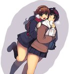 2girls bag belt_boots black_boots black_hair blush boots brown_hair coat eating food hairband hug hug_from_behind knee_boots leg_lift long_hair mittens multiple_girls nazume_mikuru nikuman paper_bag pleated_skirt red_scarf scarf school_bag shiraishi_ayuna short_hair skirt smile winter_clothes winter_coat xration zero_in