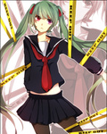1girl caution_tape green_hair hatsune_miku heterochromia hiiro keep_out long_hair pantyhose pink_eyes school_uniform serafuku solo twintails very_long_hair vocaloid zoom_layer