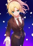 1girl alternate_costume black_jacket black_neckwear black_pants blonde_hair closed_mouth commentary_request fate/apocrypha fate/grand_order fate_(series) flower formal gogatsu_fukuin green_eyes hair_ornament hair_scrunchie hand_on_hip highres jacket long_hair long_sleeves mordred_(fate) mordred_(fate)_(all) necktie outstretched_arm pant_suit pants petals ponytail purple_flower purple_rose red_scrunchie rose scrunchie shirt signature smile solo suit white_shirt