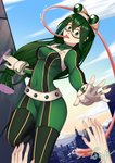 1girl ang_(6107939) asui_tsuyu beige_gloves black_eyes bodysuit boku_no_hero_academia breasts city commentary_request eyebrows_visible_through_hair frog_girl gloves goggles goggles_on_head green_bodysuit green_hair hair_between_eyes hair_rings highres long_hair long_sleeves long_tongue looking_at_viewer low-tied_long_hair medium_breasts outdoors signature solo_focus tongue tongue_out upper_teeth