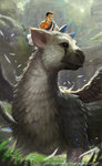 1boy absurdres andy_liong artist_name black_eyes black_hair blue_eyes child copyright_name creature feathers grass griffin highres horns light male_focus monster the_boy_(the_last_guardian) the_last_guardian trico_(character) tunic wings
