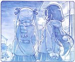 3girls :d arms_behind_back blue breath closed_eyes coat commentary_request facing_away from_behind goshiki_agiri kill_me_baby long_hair long_sleeves monochrome multiple_girls open_mouth oribe_yasuna outdoors outstretched_arms pleated_skirt pom_pom_(clothes) running sakino_shingetsu scarf shoes short_hair sideways_mouth skirt smile sonya_(kill_me_baby) spread_arms standing standing_on_one_leg twintails