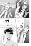 ... 1boy 1girl absurdres admiral_(kantai_collection) bomber_grape comic defeat doujinshi hat highres jacket kaga_(kantai_collection) kantai_collection military military_uniform monochrome scan side_ponytail smoke torn_clothes track_jacket translated uniform