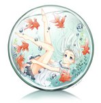 1girl air_bubble artist_name blue_eyes bubble commentary_request dress fish glass goldfish haruki_(colorful_macaron) highres legs_up original plant reflection solo underwater water white_dress white_hair