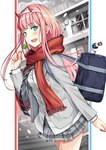 1girl aqua_eyes bag blazer blurry blurry_background blush candy darling_in_the_franxx fang food hairband hiro_(darling_in_the_franxx) hiroki_(hirokiart) horns jacket lollipop long_hair looking_at_viewer necktie open_mouth petals pink_hair pleated_skirt red_scarf scarf school_uniform skirt solo walking white_hairband zero_two_(darling_in_the_franxx)
