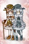2girls :< adapted_costume alternate_costume brown_eyes brown_hair clock commentary_request cosplay dress eurasian_eagle_owl_(kemono_friends) frilled_dress frills fur_collar gears gradient_hair hat head_wings holding kemono_friends lechku looking_at_viewer monocle multicolored_hair multiple_girls nechku northern_white-faced_owl_(kemono_friends) ookami_(game) sanari_(quarter_iceshop) shoes staff steampunk tail white_hair white_legwear yellow_eyes