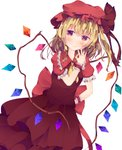 1girl ascot blonde_hair blush dress fant flandre_scarlet frills hand_on_hip hand_up hat highres looking_at_viewer mob_cap red_dress red_eyes red_hat short_sleeves side_ponytail smile solo standing touhou white_background wings wristband yellow_neckwear