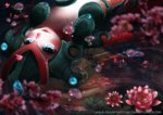 1girl afloat blue_eyes blurry blurry_foreground blush collarbone commentary depth_of_field flower koi_nami league_of_legends long_hair lying mermaid monster_girl nami_(league_of_legends) on_back parted_lips partially_submerged petals petals_on_water pink_flower red_hair saruei scales solo water watermark web_address