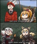 1boy 3girls absurdres alternate_costume animal_ears armor armored_dress backpack bag beret cat_ears commander_(girls_frontline) commentary eating english_text faceless faceless_male girls_frontline hat highres idw_(girls_frontline) kalina_(girls_frontline) knight military military_uniform monty_python monty_python_and_the_holy_grail multiple_girls parody potato scarf spas-12_(girls_frontline) the_sourkraut thief twitter_username uniform