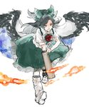 1girl arm_cannon asakura_noi asymmetrical_legwear bird_wings black_hair black_wings boots bow cape feathered_wings fire green_bow green_skirt hair_bow long_hair long_skirt looking_at_viewer reiuji_utsuho sketch skirt smile solo touhou weapon white_boots wings