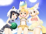 3girls :d adapted_costume animal_ears ball bare_arms bare_shoulders beachball black_hair blonde_hair blush breasts brown_eyes casual_one-piece_swimsuit commentary common_raccoon_(kemono_friends) covered_navel fang fennec_(kemono_friends) fox_ears fox_girl fox_tail highres holding holding_ball innertube kemono_friends looking_at_viewer medium_breasts multicolored_hair multiple_girls navel one-piece_swimsuit open_mouth pink_bikini_top purple_swimsuit raccoon_ears raccoon_girl raccoon_tail serval_(kemono_friends) serval_ears serval_print serval_tail shin01571 silver_hair small_breasts smile standing swimsuit tail transparent two-tone_hair white_bikini_bottom white_hair white_swimsuit yellow_innertube