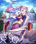 1girl armor blue_sky cape cloud company_name copyright_name esukee flower from_side hair_flower hair_ornament iris_(flower) japanese_armor koinobori kusazuri lavender_hair long_hair looking_at_viewer looking_back midriff official_art open_mouth outdoors purple_eyes sengoku_saga short_sleeves sky solo tears twintails