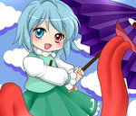 1girl blue_eyes blue_hair commentary_request heterochromia karakasa_obake open_mouth red_eyes short_hair skirt smile solo tatara_kogasa tongue touhou umbrella yuzuna99