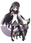 1girl akemi_homura black_hair hairband holding holding_poke_ball long_hair looking_at_viewer magical_girl mahou_shoujo_madoka_magica pantyhose poke_ball pokemon purple_eyes simple_background skirt umbreon white_background yukasuke