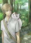 1boy animal animal_on_shoulder bag brown_hair cat cat_on_shoulder choushi messenger_bag natsume_takashi natsume_yuujinchou nyanko path road shoulder_bag tree