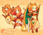3girls bandaged_arm bandages bangs beanie beige_background belt breasts brown_gloves buckle character_name charizard charmander charmeleon child claws cleavage closed_mouth dav-19 evolution eyelashes fiery_tail fighting_stance fire flat_chest gauntlets gen_1_pokemon gloves green_eyes hair_between_eyes happy hat holding holding_sword holding_weapon horn horns jumping long_hair long_sleeves looking_at_viewer midriff multiple_girls navel orange_hair parted_bangs personification poke_ball poke_ball_(generic) pokemon pokemon_(creature) serious shoes short_sleeves shoulder_blades small_breasts spikes standing sword tail watermark weapon web_address