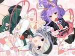 2girls animal_ears bent_knees black_blazer black_bow black_legwear blue_eyes bow bowtie bunny_ears carrot collared_shirt commentary_request crescent green_skirt green_vest grey_hair hairband heart heart_of_string karasusou_nano konpaku_youmu long_hair long_sleeves looking_at_viewer midair multiple_girls necktie open_mouth pin pink_skirt pleated_skirt purple_hair reaching red_eyes red_neckwear reisen_udongein_inaba shirt short_hair skirt thighhighs touhou valentine vest white_shirt zettai_ryouiki