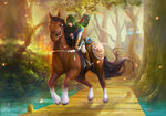 bow_(weapon) cape deviantart_thumbnail epona eternal_legend hood horse horseback_riding link outdoors riding the_legend_of_zelda tree watermark weapon web_address zelda_wii_u