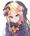 1girl >:) abigail_williams_(fate/grand_order) bangs black_bow black_dress black_headwear blonde_hair blue_eyes bow bug butterfly closed_mouth commentary_request dress drop_shadow fate/grand_order fate_(series) forehead hair_bow hat insect long_hair looking_at_viewer multiple_bows multiple_hair_bows nasaniliu orange_bow parted_bangs polka_dot polka_dot_bow smile solo v-shaped_eyebrows very_long_hair white_background
