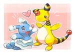 :d ampharos arms_up black_eyes blush brionne creature fang full_body gen_2_pokemon gen_7_pokemon heart looking_at_viewer open_mouth pink_background pokemon pokemon_(creature) signature smile standing tansho