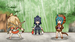 3girls :d >_< animal_ears animated battle blazblue blazblue:_chronophantasma closed_eyes commentary_request crested_porcupine_(kemono_friends) dual_wielding guilty_gear guilty_gear_xrd kemono_friends leo_whitefang lion_(kemono_friends) lion_ears lion_tail long_hair lowres multiple_girls open_mouth pantyhose parody pleated_skirt porcupine_ears sanari_(quarter_iceshop) short_hair skirt smile snake_tail special_moves tail tsuchinoko_(kemono_friends) ugoira xd yuuki_terumi