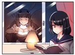 2girls black_hair blush book breasts brown_eyes brown_gloves brown_hair bug cleavage comic commentary elbow_gloves eyebrows_visible_through_hair fur_trim gloves glowing highres hinghoi indoors insect insect_girl lamp long_hair medium_breasts medium_hair moth moth_girl multiple_girls open_book original personification reading red_eyes red_neckwear sailor_collar school_uniform serafuku smile upper_body window