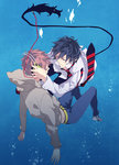 2boys ao_no_exorcist black_hair headphones highres multiple_boys necktie okumura_rin pointy_ears red_hair sara666 shima_renzou tail underwater wet wet_clothes