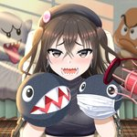1girl bed black_headwear boo brown_eyes brown_hair chain chain_chomp goomba hair_between_eyes hand_puppet hat highres idolmaster idolmaster_cinderella_girls indoors mario_(series) masun33333 microphone open_mouth puppet ribbed_sweater sharp_teeth solo stuffed_toy sunazuka_akira sunlight surgical_mask sweater teeth two_side_up