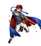 1boy 1girl armor blue_armor blue_eyes bunbun cape fire_emblem fire_emblem:_fuuin_no_tsurugi fire_emblem_heroes full_body gloves headband looking_at_viewer male_focus red_hair roy_(fire_emblem) short_hair smile sword torn_clothes transparent_background weapon