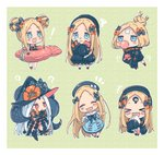 ! +++ +_+ 1girl :d :o >_< ? ^_^ abigail_williams_(fate/grand_order) bangs bikini black_bikini black_bow black_dress black_headwear black_jacket black_legwear blonde_hair blue_dress blue_eyes blush_stickers bow bubble_blowing bug butterfly chewing_gum chibi closed_eyes collared_dress commentary_request crossed_bandaids double_bun dress eating emerald_float fate/grand_order fate_(series) food hair_bow hat highres holding holding_food innertube insect jacket long_hair long_sleeves multiple_bows multiple_hair_bows multiple_hat_bows multiple_views object_hug open_mouth orange_bow parted_bangs parted_lips polka_dot polka_dot_bow red_eyes revealing_clothes sandwich sharp_teeth sleeves_past_fingers sleeves_past_wrists smile sofra squiggle star star_print stuffed_animal stuffed_toy suction_cups swimsuit tears teddy_bear teeth tentacles thighhighs very_long_hair white_hair xd