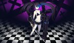 1girl absurdres asymmetrical_hair black_bikini_top black_footwear black_hair black_jacket black_rock_shooter black_rock_shooter_(character) black_shorts blue_eyes boots breasts burning_eye checkered checkered_floor choker cleavage collarbone cross floating_hair front-tie_bikini front-tie_top full_body hair_between_eyes highres holding holding_sword holding_weapon huijin_zhi_ling jacket katana long_hair long_sleeves looking_at_viewer open_clothes open_jacket short_shorts shorts small_breasts solo standing sword twintails very_long_hair weapon white_skin