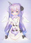1girl angel_wings azur_lane black_ribbon blue_background blush detached_sleeves dress hair_ornament highres horn long_hair looking_at_viewer object_hug object_namesake purple_eyes purple_hair ribbon see-through shaneru side_ponytail solo stuffed_alicorn stuffed_animal stuffed_toy unicorn_(azur_lane) wings