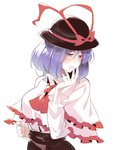 1girl ascot asutora bangs black_headwear black_skirt blush breasts capelet commentary_request cowboy_shot eyebrows_visible_through_hair frilled_capelet frills hair_between_eyes half-closed_eyes hand_up hat hat_ribbon large_breasts long_sleeves nagae_iku nose_blush parted_lips purple_hair red_eyes red_neckwear red_ribbon ribbon shirt short_hair simple_background skirt solo touhou white_background white_capelet white_shirt wing_collar