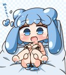1girl :d bangs bare_arms bare_legs bare_shoulders barefoot bikini black_bikini blue_eyes blue_hair blush checkered checkered_background chibi collarbone commentary_request double_bun eyebrows_visible_through_hair full_body goo_girl half_slime-chan hana_kazari heart highres legs_up long_hair looking_at_viewer monster_girl open_mouth original sidelocks slime smile soles solo swimsuit translation_request