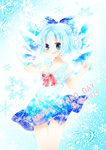 (9) 1girl :d \m/ alternate_costume blue_eyes blue_hair blush bow cirno colored_eyelashes dress hair_bow ice ice_wings musical_note open_mouth smbrly smile snowflakes solo touhou wings
