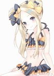 1girl abigail_williams_(fate/grand_order) absurdres bangs bare_arms bare_shoulders bikini black_bikini black_bow black_headwear blonde_hair blue_eyes blush bow collarbone commentary_request double_bun emerald_float eyebrows_visible_through_hair fate/grand_order fate_(series) frills hair_bow hat highres long_hair looking_at_viewer multicolored multicolored_bikini multicolored_clothes navel orange_bow parted_bangs polka_dot polka_dot_bow simple_background smile solo swimsuit toratora_(nanahaba) white_background yellow_bow