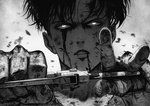 1boy black_hair bleeding blood blood_on_face commentary highres holding holding_weapon levi_(shingeki_no_kyojin) looking_at_viewer male_focus manip parted_lips shingeki_no_kyojin simple_background solo upper_body weapon white_background