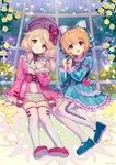 2girls :d ainy77 bangs blonde_hair blue_bow blue_dress blue_footwear blush bow brown_eyes bug butterfly commentary_request dress eyebrows_visible_through_hair flower frilled_shirt_collar frilled_sleeves frills full_body green_eyes hair_between_eyes hair_bow hair_ornament hair_scrunchie hand_up hands_up hat hat_bow hat_flower head_tilt highres idolmaster idolmaster_cinderella_girls insect juliet_sleeves koga_koharu lens_flare lolita_fashion long_hair long_sleeves looking_at_viewer low_twintails mary_janes multiple_girls neck_ribbon open_mouth pantyhose petals pink_dress pink_flower pink_footwear pink_headwear pink_neckwear pink_rose puffy_sleeves red_bow ribbon ribbon-trimmed_dress ribbon_trim rose scrunchie shadow shoes short_dress short_sleeves sitting smile sparkle thighhighs thighs tiara twintails white_legwear wide_sleeves yellow_flower yellow_rose yusa_kozue zettai_ryouiki
