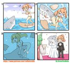 !? 2girls >_< absurdres air_bubble animal artist_name bare_arms bare_legs bare_shoulders barefoot bestiality bikini black_bow black_jacket black_pants black_shorts blue_sky blush bottomless bow bowtie breasts bride brown_bikini brown_hair bubble cleavage closed_eyes cloud cloudy_sky collared_shirt comic commentary_request confetti cross day dress flying_sweatdrops greenteaneko greenteaneko-chan groom high_ponytail highres jacket large_breasts locked_arms multiple_girls navel o_o open_mouth original outdoors pants ponytail shark sharp_teeth shirt shorts silent_comic sky star strapless strapless_dress surfboard surfing swimsuit teeth torn_bikini torn_clothes turn_pale underwater water watermark web_address wedding wedding_dress white_dress white_shirt wife_and_wife yuri