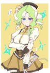1girl black_headwear blue_eyes blush border breasts cosplay cowboy_shot detached_sleeves diana_cavendish eyebrows_visible_through_hair fingerless_gloves gloves hys-d light_green_hair little_witch_academia looking_at_viewer mahou_shoujo_madoka_magica medium_breasts multicolored_hair puffy_short_sleeves puffy_sleeves shirt short_sleeves solo thighhighs tomoe_mami tomoe_mami_(cosplay) translation_request two-tone_hair white_border white_shirt yellow_background zettai_ryouiki