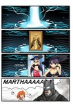 1boy 2girls 4koma ? batman batman_(series) batman_v_superman:_dawn_of_justice bikini blue_eyes brown_hair cellphone choker collarbone comic commentary crossover crying crying_with_eyes_open dc_comics fate/grand_order fate_(series) fujimaru_ritsuka_(female) gameplay_mechanics hat highres holding long_hair magic_circuit multiple_girls namesake navel phone purple_hair saint_martha saint_martha_(swimsuit_ruler)_(fate) setia_pradipta short_hair smartphone spoken_question_mark streaming_tears sun_hat swimsuit tears