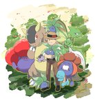 1boy ^_^ belt black_footwear black_hair brown_pants closed_eyes closed_mouth commentary_request creature drooling fangs gen_1_pokemon gloom grass grin hanimaru_(pixiv29474374) hat holding holding_pokemon kangaskhan leg_hug male_focus morino_(pokemon) oddish open_mouth outdoors pants petals pokemon pokemon_(creature) pokemon_(game) pokemon_card_gb pokemon_on_head scyther shoes signature sleeves_rolled_up smile squirtle standing straw_hat tree vileplume