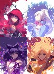 4girls black_hair blake_belladonna blonde_hair cape commentary ein_lee floral_background hood multiple_girls night night_sky official_art red_hair ruby_rose rwby sky weiss_schnee white_hair yang_xiao_long