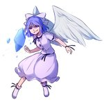 1girl bangs blue_eyes boots bow commentary english_commentary evil_smile eyebrows_visible_through_hair full_body hair_between_eyes hair_bow ice looking_at_viewer mai_(touhou) medium_hair parted_lips puffy_short_sleeves puffy_sleeves purple_eyes shirt short_sleeves skirt skirt_set smile smirk solo speckticuls touhou touhou_(pc-98) transparent_background v-shaped_eyebrows white_bow white_shirt white_skirt white_wings wings