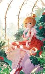 1girl absurdres antenna_hair bangs boots brown_hair cardcaptor_sakura clock commentary_request crown dress duximeng flower frilled_dress frills gloves green_eyes hand_on_lap hand_up heart highres kinomoto_sakura mini_crown pink_flower red_dress red_flower red_rose rose see-through short_hair short_sleeves sitting solo striped vertical-striped_dress vertical_stripes white_footwear white_gloves